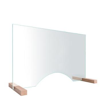 Vitre de protection en verre, 65 x 90 cm, vitre de protection antivirus avec passe-document