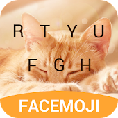Lovely Cute Cat Emoji Keyboard Theme For Facemoji