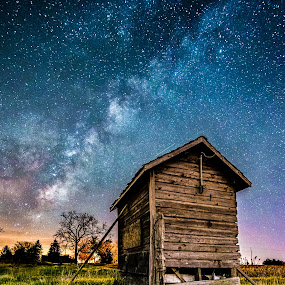 Forgotten Under the Stars by Trevor Pottelberg - Landscapes Starscapes ( scenic photographer, shooting star, landscape, brownsville, tree, night photography, constellations, t.pottelberg, corinth, dark, falling star, canada, t.pottelberg scenics, scenics, ontario, scenic, astronomy, startrails, nightscape, field, trevor pottelberg, stars, night, galaxy, heavens,  )