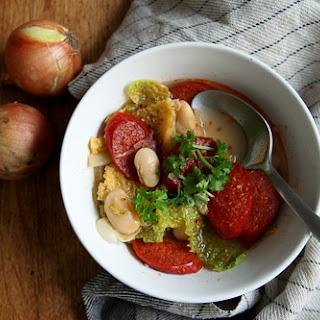 Chorizo, Savoy Cabbage and White Bean Soup