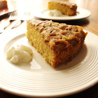 Rhubarb Almond Polenta Cake