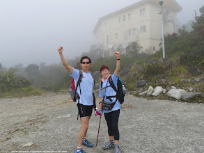 Photo: In jubilation – yours truly arriving at Laban Rata Resthouse with Tracy Chan. We took 4 hours to arrive at Laban Rata (from Timbohon Gate).