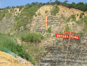 Photo: CHN-QU06  Extreme revegetation with vetiver - Guangdong China.  Artificial terraces have been slotted into quarry face and planted with vetiver and other shrubs.  Only the Chinese can do this!!!