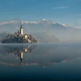 morning tranquility by Bor Rojnik - Landscapes Travel ( reflection, foggy, fog, transport, slovenia, lake, tranquility, morning, island,  )