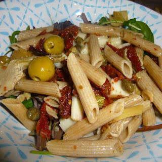 Whole Wheat Italian Pasta and Goat's Cheese Salad with a Lemon and Tarragon Dressing.