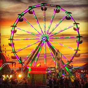 Carnival  by Ann Goldman - Uncategorized All Uncategorized ( ferriswheel, beach, carnival )