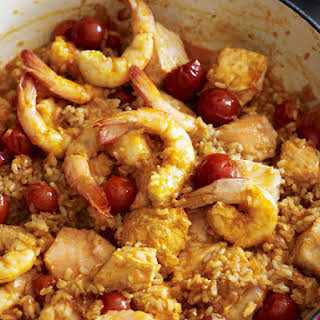 Heart Healthy Seafood with Tomato Rice.