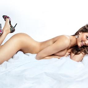 Nice Shoes by Emily Campagna - Nudes & Boudoir Boudoir ( shoes, sedura, white, sheet )