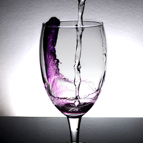 Glass of Water by Micah Jaron Flack - Abstract Water Drops & Splashes ( abstract, water, purple, pouring, glass, food dye )
