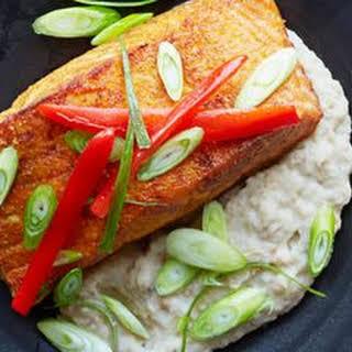 Spicy Salmon Over Creamy Eggplant.
