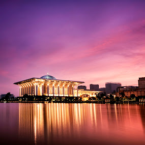 Between the two Mosque  by Fadly Hj Halim - City,  Street & Park  Vistas ( reflection, masjid, mosque, putrajaya, lake, sunrise, morning, slow shutter )