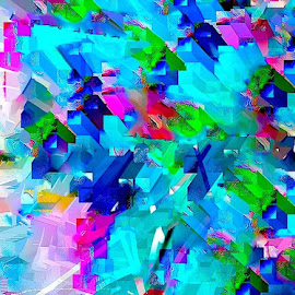 Thrusts by Ronnie Caplan - Illustration Abstract & Patterns ( abstract, skyline, colorful, future, conceptual,  )