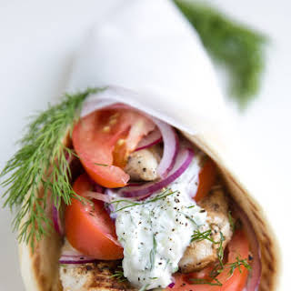 Easy Chicken Gyros with Tzatziki Sauce.
