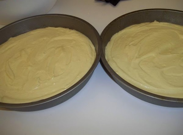 Pour batter into prepared pans, dividing equally among both.