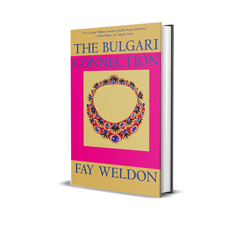 Copertina del libro The Bulgari Connecrion scritto da Fay Weldon. In copertina c'è un disegno di un gioiello Bulgari. Fonte ed elaborazione immagine: Marketing Ignorante