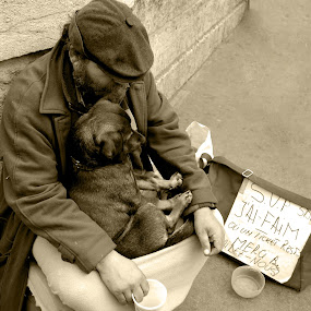 Beggar with dog in Paris by Ioan G Hiliuta - People Street & Candids ( paris, beggar, homeless, poor, money, puppy, dog, mercy )