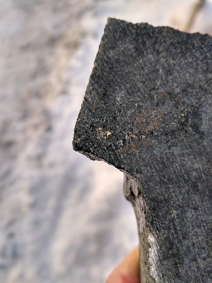 Видимое золото и вкрапленность халькопирита в диорите