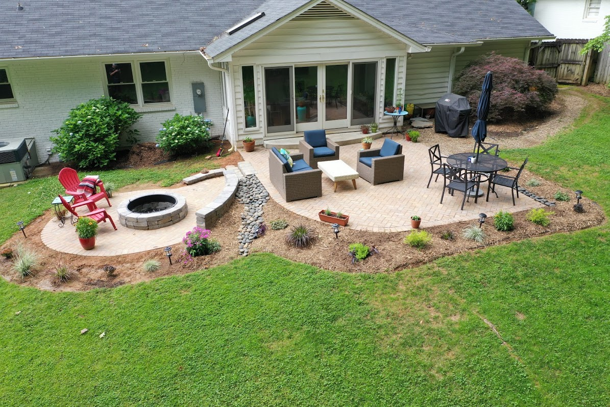 backyard with patio and table with chairs