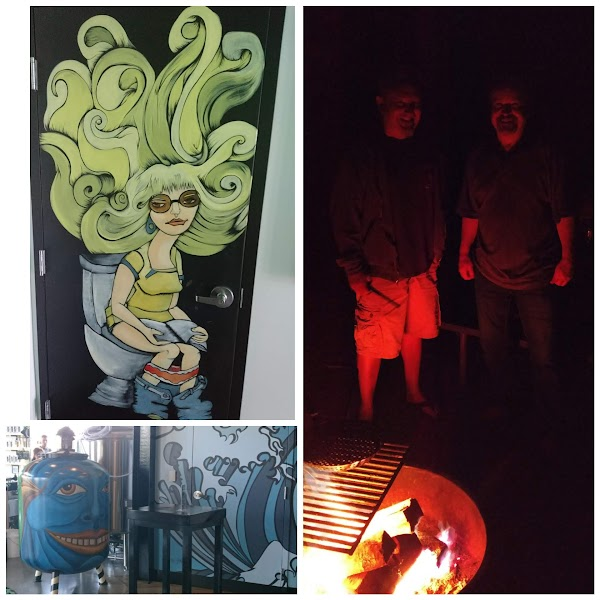 Collage: brewery art and campfire
