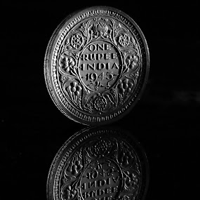 One Rupee Silver Coin of India 1945 by Amit Naskar - Artistic Objects Other Objects ( pwccoins )