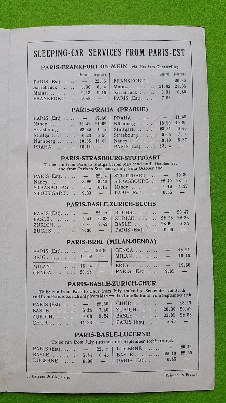 Paris nach Istanbul - Orient-Express - Prospekt 1932