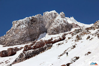 Photo: Pazout uphilling on skins/skis, altitude below 3000 m