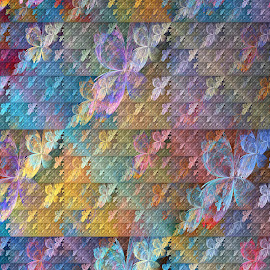 Field of Butterflies by Peggi Wolfe - Illustration Abstract & Patterns ( abstract, wolfepaw, butterfly, color, bright, fun, fractal, digital )