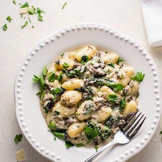 Creamy Mushroom and Spinach Gnocchi.