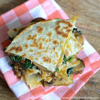 Garlicky Mushroom and Spinach Quesadillas