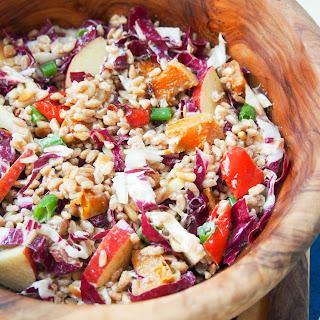Farro salad with roasted squash, radicchio and lemon-tahini dressing #SundaySupper