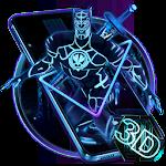 3D Black Neon Panther Hero Theme