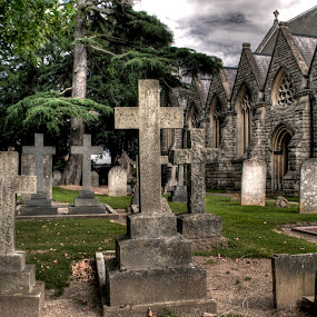 graveyard, church, cross, hdr by Jade Newman - Buildings & Architecture Places of Worship