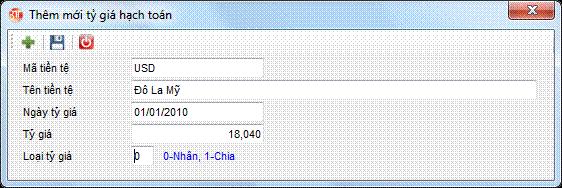Danh mục tiền tệ phần mềm kế toán 3tsoft