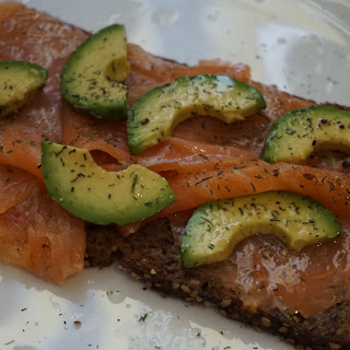 Healthy Snack:  Smoked Salmon With Avocado On Bread Recipe .
