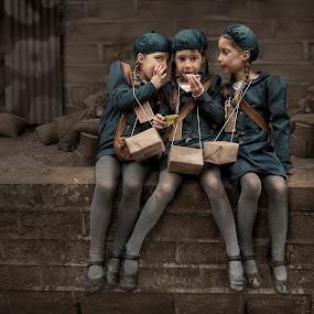 Evacuee Triplets by KT Allen - Babies & Children Children Candids ( girls, triplets, equacuee, 1940s, war )