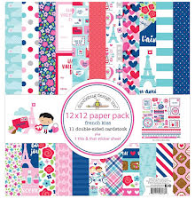 Doodlebug Double-Sided Paper Pack 12X12 12/Pkg - French Kiss