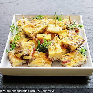 Tortilla mit Pilzen und Chorizo.