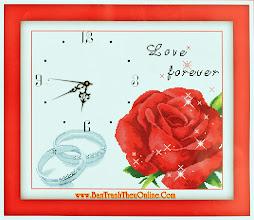 Photo: Tranh thêu chữ thập đồng hồ Love Forever Y8092