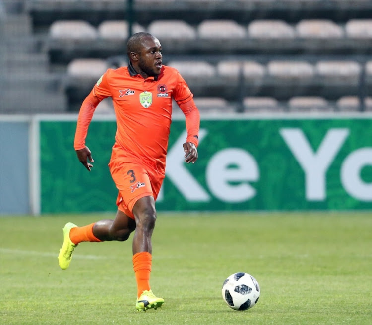 Mogau Tshehla of Polokwane City FC during the Nedbank Cup, Last 32 match between Ubuntu Cape Town and Polokwane City at Athlone Stadium on February 07, 2018 in Cape Town.