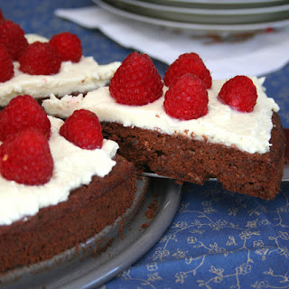Flourless Chocolate Torte with Mascarpone and Raspberries (Low Carb and Gluten Free).