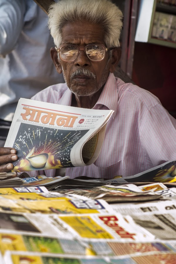 Newspaper-Man by Vineet Pal - People Portraits of Men ( mumbai, news paper, 2013, awesome, vineet pal, sippy photography, small trades, indian, india, trades, people, portrait,  )