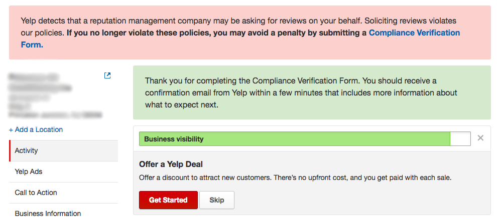 How To Yelp Compliance Verification Form
