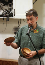 Photo: Tim Aley juggles the three small oak bowls he brought to show.
