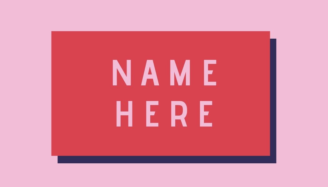 simple pink Place card template