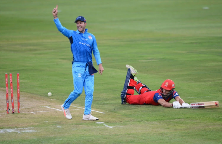 AB de Villiers of the Multiply Titans celebrates the wicket of Wiaan Mulder of the bizhub Highveld Lions during the RAM SLAM T20 Challenge match at SuperSport Park on November 10, 2017 in Pretoria, South Africa.