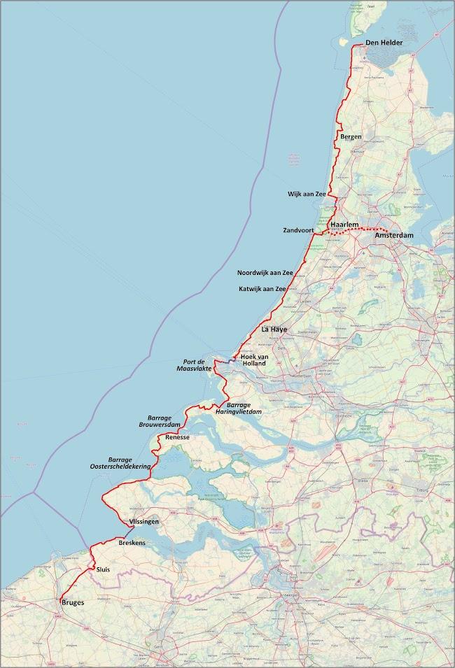 Itinéraire LF1 à vélo d'Amsterdam à Bruges