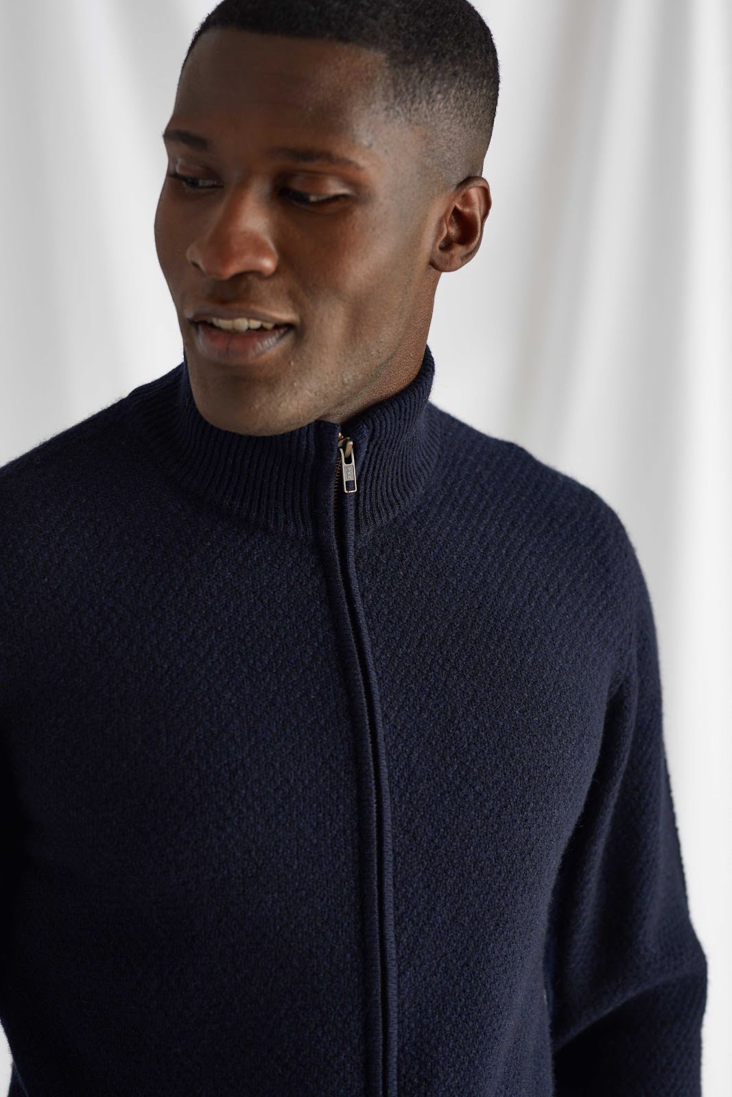 Man Textured Full Zip Cardigan
