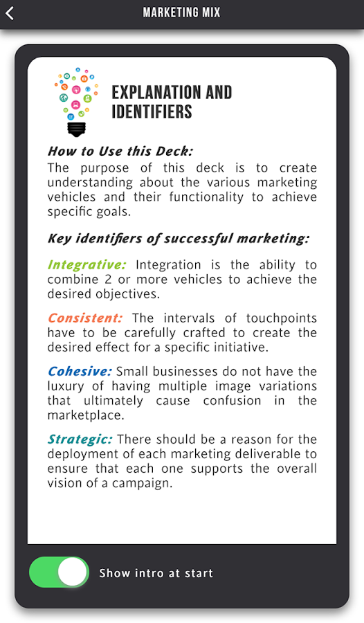 Marketing Mix Cards- screenshot