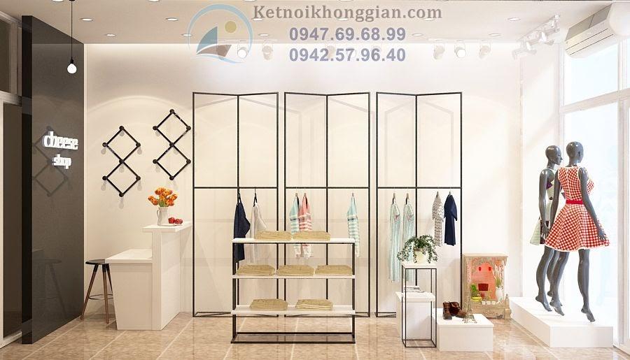 thiết kế cửa hàng thời trang nữ hiện đại, trẻ trung