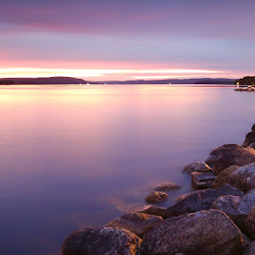 Afterlight by Joachim Persson - Landscapes Waterscapes ( purple, sunset, long exposure, lake, rocks )